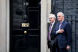 © Licensed to London News Pictures. 05/02/2018. London, UK. European Chief Negotiator for the United Kingdom Exiting the European Union Michel Barnier and Secretary of State for Exiting the European Union David Davis arrive in Downing Street for a meeting on Brexit. Photo credit : Tom Nicholson/LNP