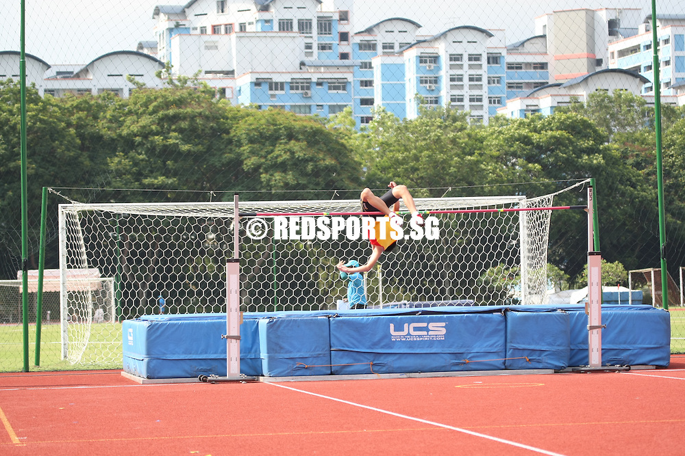 Choa Chu Kang Stadium, Friday, April 12, 2013 &mdash; Samuel Chin of Raffles Institution (RI) won the B Division high jump gold when he cleared 1.97 metres at the 54th National Schools Track and Field Championships.<br /> <br /> Story: http://www.redsports.sg/2013/04/23/b-div-high-jump-samuel-chin-ri/