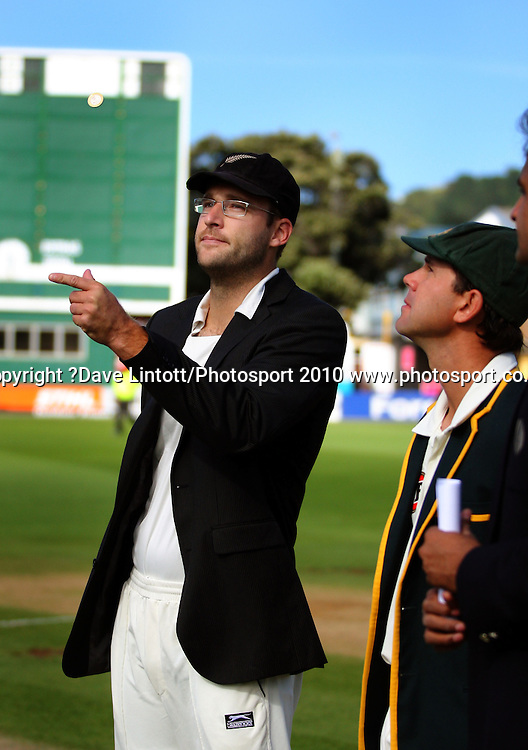 NZ captain Daniel Vettori tosses the coin as Australian captain Ricky Ponting looks on.<br /> 1st cricket test match - New Zealand Black Caps v Australia, day one at the Basin Reserve, Wellington.Friday, 19 March 2010. Photo: Dave Lintott/PHOTOSPORT