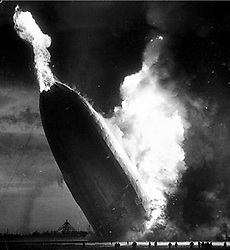 May 6, 2017 - FILE PHOTO - The Hindenburg disaster occurred on May 6, 1937, as the German passenger airship LZ 129 Hindenburg caught fire and was destroyed during its attempt to dock with its mooring mast at Naval Air Station Lakehurst in Manchester Township, New Jersey, United States. Of the 97 people on board (36 passengers and 61 crewmen), there were 35 fatalities (13 passengers and 22 crewmen). One worker on the ground was also killed, raising the final death toll to 36. Pictured: May 6, 1937 - German airship LZ 129 'Hindenburg' Lakehurst, New Jersey, USA. During the historical airship accident of the 'Hindenburg', the hydrogen within the ship burned. (Credit Image: © German Federal Archive via ZUMA Wire/ZUMAPRESS.com)