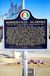 06 February 2015. Monroeville, Alabama.<br /> On the trail of Harper Lee's 'To Kill a Mocking Bird.'<br /> Signage for Monroeville.<br /> Photo; Charlie Varley/varleypix.com