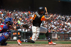 SAN FRANCISCO, CA - AUGUST 26: Hunter Pence #8 of the San Francisco Giants at bat against the Texas Rangers during the fourth inning at AT&T Park on August 26, 2018 in San Francisco, California. The San Francisco Giants defeated the Texas Rangers 3-1. All players across MLB will wear nicknames on their backs as well as colorful, non-traditional uniforms featuring alternate designs inspired by youth-league uniforms during Players Weekend. (Photo by Jason O. Watson/Getty Images) *** Local Caption *** Hunter Pence