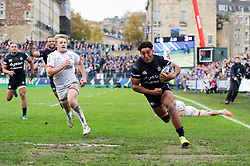Gabriel Hamer-Webb of Bath Rugby runs in a try in the second half - Mandatory byline: Patrick Khachfe/JMP - 07966 386802 - 16/11/2019 - RUGBY UNION - The Recreation Ground - Bath, England - Bath Rugby v Ulster Rugby - Heineken Champions Cup