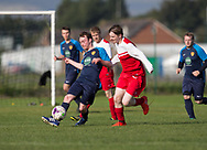 Sidlaw Athletic (blue) v Cleppy Social (red) - Dundee Saturday Morning Football League at University Grounds, Riverside<br /> <br /> <br />  - &copy; David Young - www.davidyoungphoto.co.uk - email: davidyoungphoto@gmail.com
