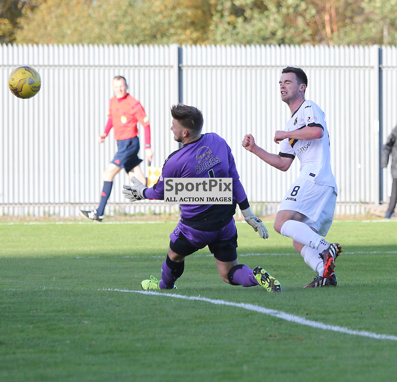 Grant Gallagher misses as Danny Rogers during the Dumbarton FC  v Falkirk FC Scottish Championship 24 October 2015 <br /> <br /> (c) Andy Scott | SportPix.org.uk