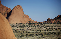 NAMIBIA DAMARALAND 25APR14 - <br /> General view of the Spitzkoppe Nature Reserve, Damaraland, Namibia.<br /> <br /> <br /> The granite is more than 700 million years old and the highest outcrop rises about 1,784 metres above sea level. The peaks stand out dramatically from the flat surrounding plains, with the highest peak reaching about 700 m  above the floor of the desert below.<br /> <br /> jre/Photo by Jiri Rezac<br /> <br /> <br /> <br /> © Jiri Rezac 2014