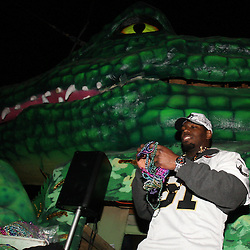 Feb 09, 2010; New Orleans, LA, USA; New Orleans Saints linebacker Jonathan Vilma (51) rides a float during the Super Bowl celebration parade for the New Orleans Saints 31-17 victory over the Indianapolis Colts in Super Bowl XLIV as the parade passed through the downtown streets of New Orleans, Louisiana.  Mandatory Credit: Derick E. Hingle-US-PRESSWIRE.