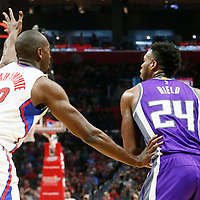 26 March 2016: LA Clippers forward Luc Mbah a Moute (12) defends on Sacramento Kings guard Buddy Hield (24) during the Sacramento Kings 98-97 victory over the Los Angeles Clippers, at the Staples Center, Los Angeles, California, USA.