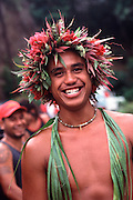 Dancer with head lei, Marquesas, French Polynesia<br />