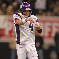 Jan 24, 2010; New Orleans, LA, USA; Minnesota Vikings quarterback Brett Favre (4) passes during a 31-28 overtime victory by the New Orleans Saints over the Minnesota Vikings in the 2010 NFC Championship game at the Louisiana Superdome. Mandatory Credit: Derick E. Hingle-US PRESSWIRE.