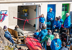 Pictured: Beach Wheelchairs Charity opening. 23 March 2019  Pictured: Charity Beach Wheelchairs celebrates opening of a new storage area in the harbour. Beach Wheelchairs is a Scottish Charity which has helped nearly 500 individuals to get on the beaches at North Berwick. It relies on volunteers to help disabled people access the beaches. The unveiling of a plaque at the new storage facility which has been named 'Len's Place. Len was a stalwart of the local community and was a volunteer involved in the project. <br /> Sally Anderson /EdinburghElitemedia.co.ukReproduction fee payable to eEdinburgh