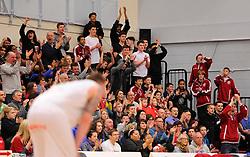 Flyers fans celebrate Bristol Flyers' Bree Perine's dunk  - Photo mandatory by-line: Joe Meredith/JMP - Mobile: 07966 386802 - 21/02/2015 - SPORT - Basketball - Bristol - SGS Wise Campus - Bristol Flyers v Plymouth Uni Raiders - British Basketball League