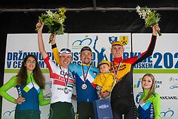 Matej MOHORIC, Tadej POGACAR and Primoz ROGLIC celebrating on podium ceremony after  Slovenian Road Cyling Championship 2020 on June 21, 2020 in Cerklje na Gorenjskem, Slovenia. Photo by Peter Podobnik / Sportida.