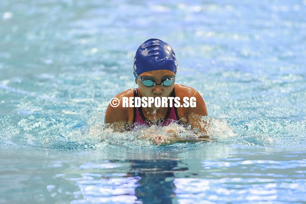 Ashley Lim executing a breaststroke during the Girls 11-12 Year Olds 400m individual medley at the 47th Singapore National Age Group Swimming Championships. (Photo 3 © Soh Jun Wei/Red Sports)