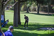 Jordan Spieth (USA) chips on to 1 during round 1 of the World Golf Championships, Mexico, Club De Golf Chapultepec, Mexico City, Mexico. 2/21/2019.<br /> Picture: Golffile | Ken Murray<br /> <br /> <br /> All photo usage must carry mandatory copyright credit (© Golffile | Ken Murray)