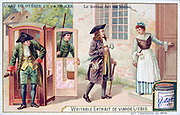 The Art of Medicine: 18th century doctor paying a visit to a patient.  He has arrived in a Sedan chair and is carrying bottles of medicine in his pocket and a syringe is tucked under his arm. Liebig Trade Card c1910.  Physician