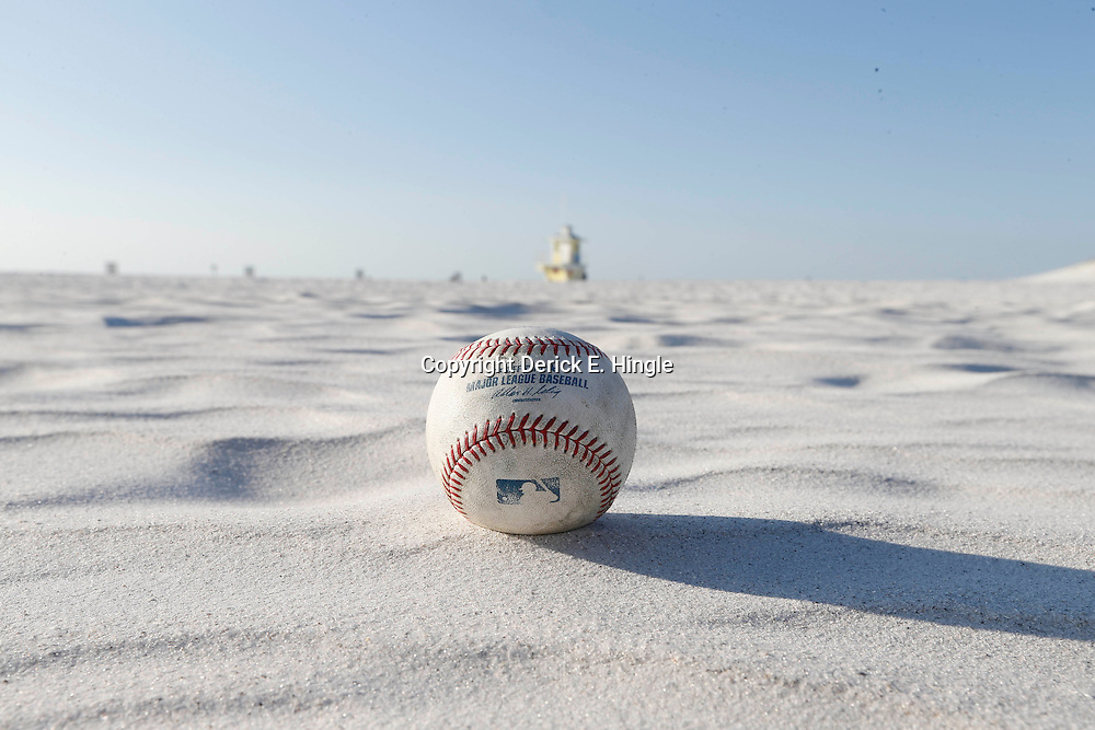 Mar 14, 2013; Clearwater Beach, FL, USA; A detail of a major league baseball at Clearwater Beach. Spring Training for MLB is held throughout the Florida from early February to late March annually.  Mandatory Credit: Derick E. Hingle-USA TODAY Sports