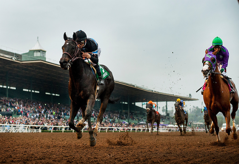 February 07 2015: Shared Belief  with jockey Mike Smith up defeats California Chrome and Victor Espinoza to win The GII San Antonio Invitational Stakes at Santa Anita Park in Arcadia CA. Alex Evers/ESW/CSM