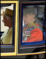 HM The Queen with Prince Phillip leave Horse Guards Parade for the Queen's Trooping of the Colour, The Queen's Birthday Parade, Saturday June 16, 2012. Photo by Andrew Parsons/i-Images..All Rights Reserved ©Andrew Parsons/i-Images .See Special Instructions