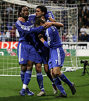 Photo: Paul Thomas.<br /> Bolton Wanderers v Chelsea. The Barclays Premiership. 29/11/2006.<br /> <br /> Goal scorer Michael Ballack (C) of Chelsea is congratulated by Didier Drogba (L) and Andriy Shevchenko.