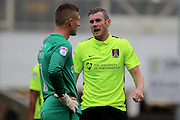 Northampton goalkpeer Adam Smith (1) talks with Northampton defender Zander Diamond (5) after letting in a goal during the EFL Sky Bet League 1 match between Chesterfield and Northampton Town at the Proact stadium, Chesterfield, England on 17 September 2016. Photo by Aaron  Lupton.