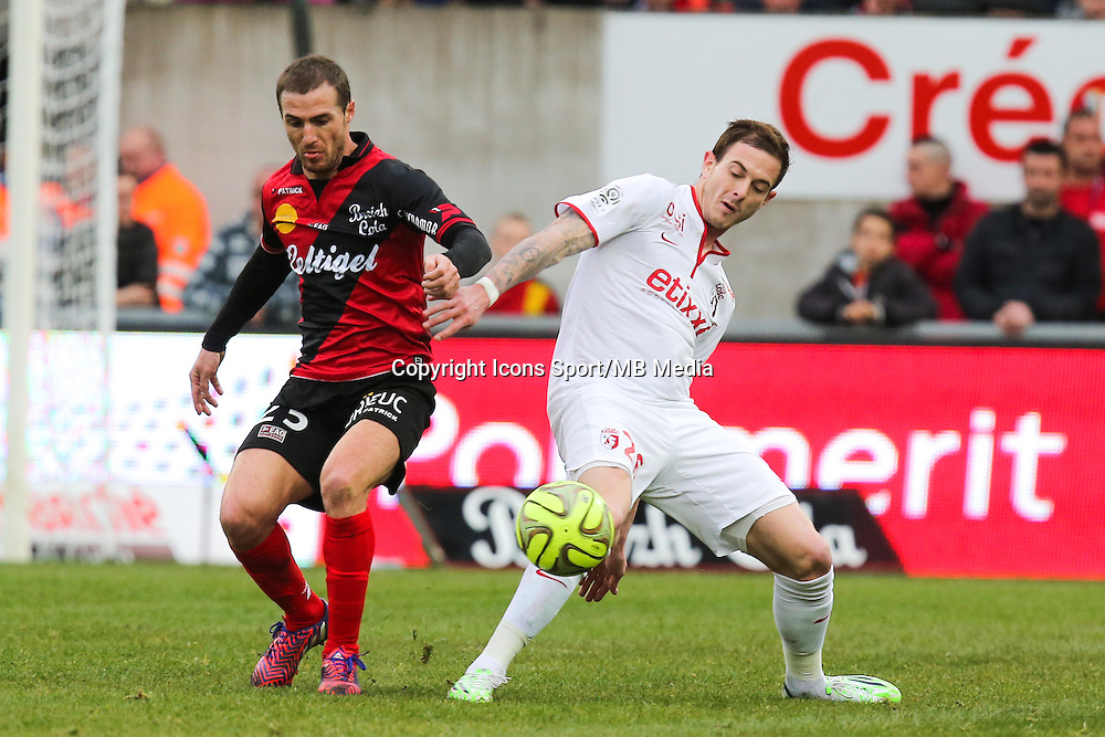 Reynald LEMAITRE / Nolan ROUX  - 08.03.2015 - Guingamp / Lille - 28eme journee de Ligue 1 <br /> Photo : Vincent Michel / Icon Sport