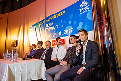 Slovenian Davis Cup team prior to the Slovenian Tennis personality of the year 2017 annual awards presented by Slovene Tennis Association Tenis Slovenija, on November 29, 2017 in Siti Teater, Ljubljana, Slovenia. Photo by Vid Ponikvar / Sportida