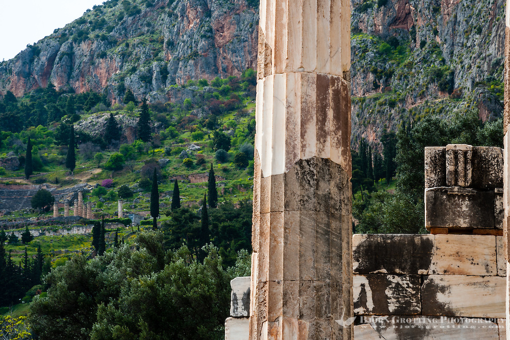 Delphi, Greece. In Greek mythology the site of the Delphic oracle. The Tholos is a circular building about 800m from the main ruins.