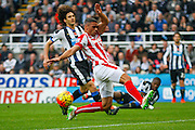 Stoke City Forward Jonathan Walters just misses the cross  during the Barclays Premier League match between Newcastle United and Stoke City at St. James's Park, Newcastle, England on 31 October 2015. Photo by Craig McAllister.