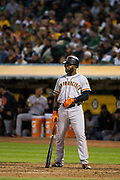 San Francisco Giants center fielder Denard Span (2) waits in the batter's box for a pitch by the Oakland Athletics at Oakland Coliseum in Oakland, California, on July 31, 2017. (Stan Olszewski/Special to S.F. Examiner)