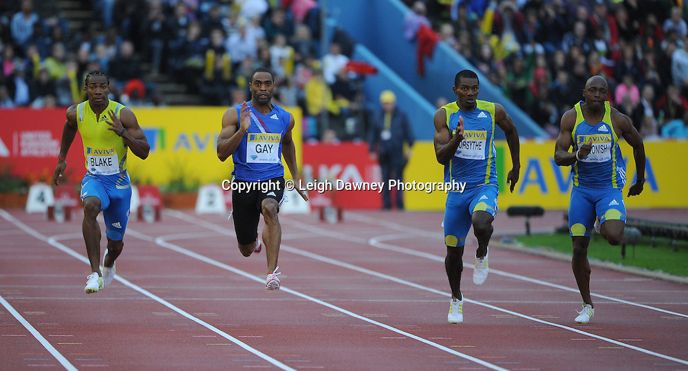 Tyson Gay (centre) 100m at The Aviva Grand Prix World Athletics at Crystal Palace UK on 13th August 2010. © Photo credit: Leigh Dawney