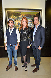 Left to right, artist CHRISTIAN HOOK, SARAH, DUCHESS OF YORK,  and MANUEL FERNANDEZ at a private view of work by Christian Hook in aid of Children in Crisis held at Clarendon Fine Art, 46 Dover Street, London on 17th March 2016.