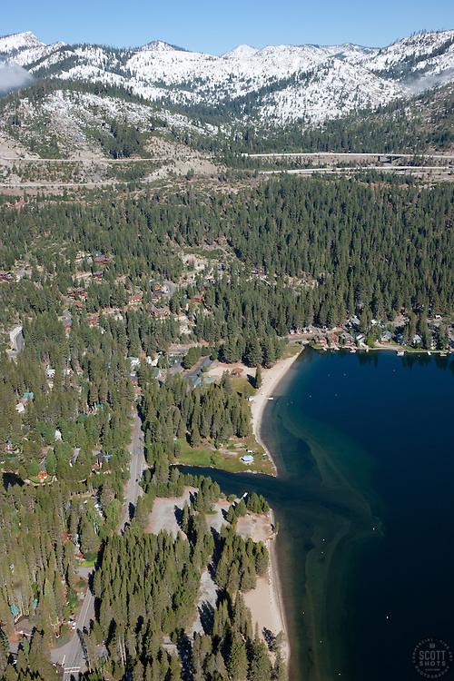 """""""Donner Lake Aerial 4"""" - Photograph of the West End Beach at Donner Lake in Truckee, California. Shot from an amphibious seaplane with the door removed."""