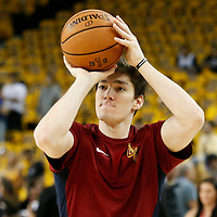 OAKLAND, CA - JUN 3: Cedi Osman #16 of the Cleveland Cavaliers warms up prior to Game Two of the 2018 NBA Finals won 122-103 by the Golden State Warriors over the Cleveland Cavaliers at the Oracle Arena on June 3, 2018 in Oakland, California. NOTE TO USER: User expressly acknowledges and agrees that, by downloading and or using this photograph, User is consenting to the terms and conditions of the Getty Images License Agreement. Mandatory Copyright Notice: Copyright 2018 NBAE (Photo by Chris Elise/NBAE via Getty Images)