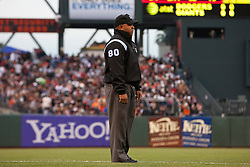 July 18, 2011; San Francisco, CA, USA;  MLB umpire Adrian Johnson (80) stands behind third base during the third inning between the San Francisco Giants and the Los Angeles Dodgers at AT&T Park. San Francisco defeated Los Angeles 5-0.
