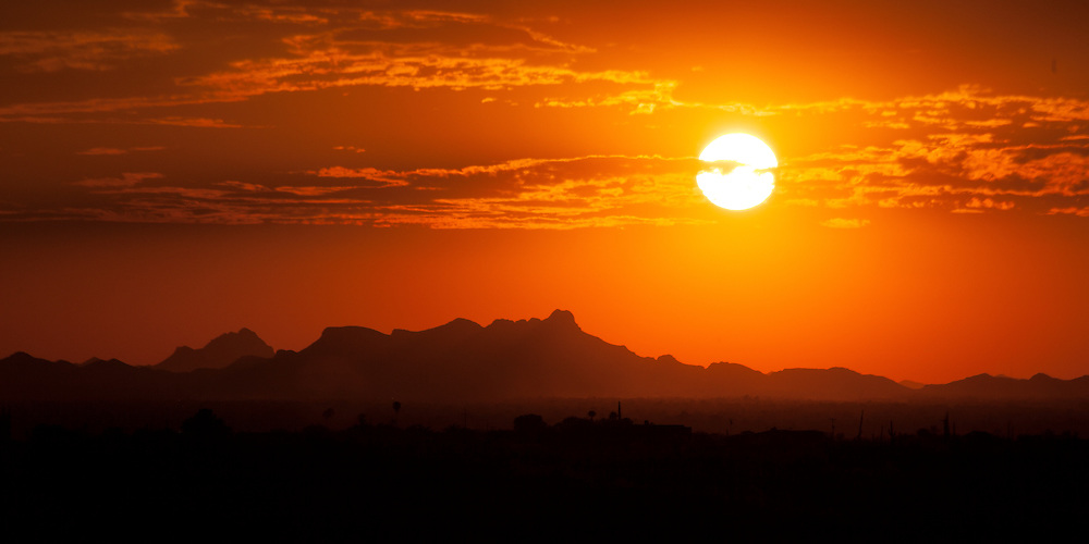 Setting sun over Tucson, AZ