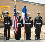 Members of the Sterling High School JROTC color guard during a groundbreaking ceremony at Codwell Elementary School, March 3, 2017.