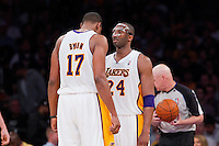 11 March 2012: Guard Kobe Bryant of the Los Angeles Lakers speaks to teammate Andrew Bynum while playing against the Boston Celtics during the second half of the Lakers 97-94 victory over the Celtics at the STAPLES Center in Los Angeles, CA.