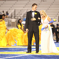 Tupelo High School senior maid Mary Collins West reacts as her named as announced homecoming queen Friday night.