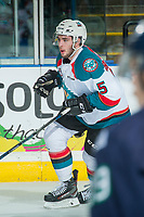 KELOWNA, CANADA - APRIL 25: Konrad Belcourt #5 of the Kelowna Rockets skates against the Seattle Thunderbirds on April 25, 2017 at Prospera Place in Kelowna, British Columbia, Canada.  (Photo by Marissa Baecker/Shoot the Breeze)  *** Local Caption ***