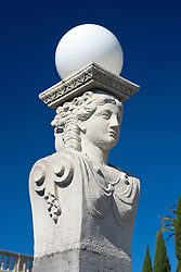 Detailed view of an exterior light statue, Hearst Castle, San Simeon, California, United States of America