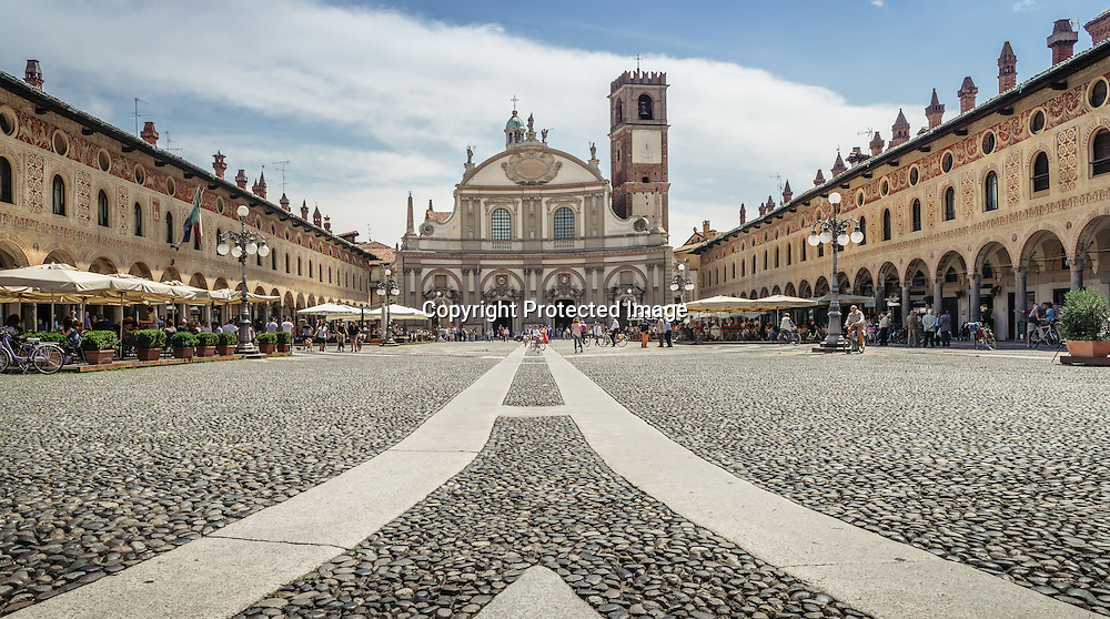 Ducale square, Vigevano; view of renaissance monumental central square, shot in summer bright light