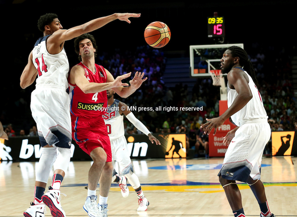 ANTHONY DAVIS of United states of America basketball team in action during Final FIBA World cup match against MILOS TEODOSIC of Serbia, Madrid, Spain Photo: MN PRESS PHOTO<br /> Basketball, Serbia, United states of America, Final, FIBA World cup Spain 2014