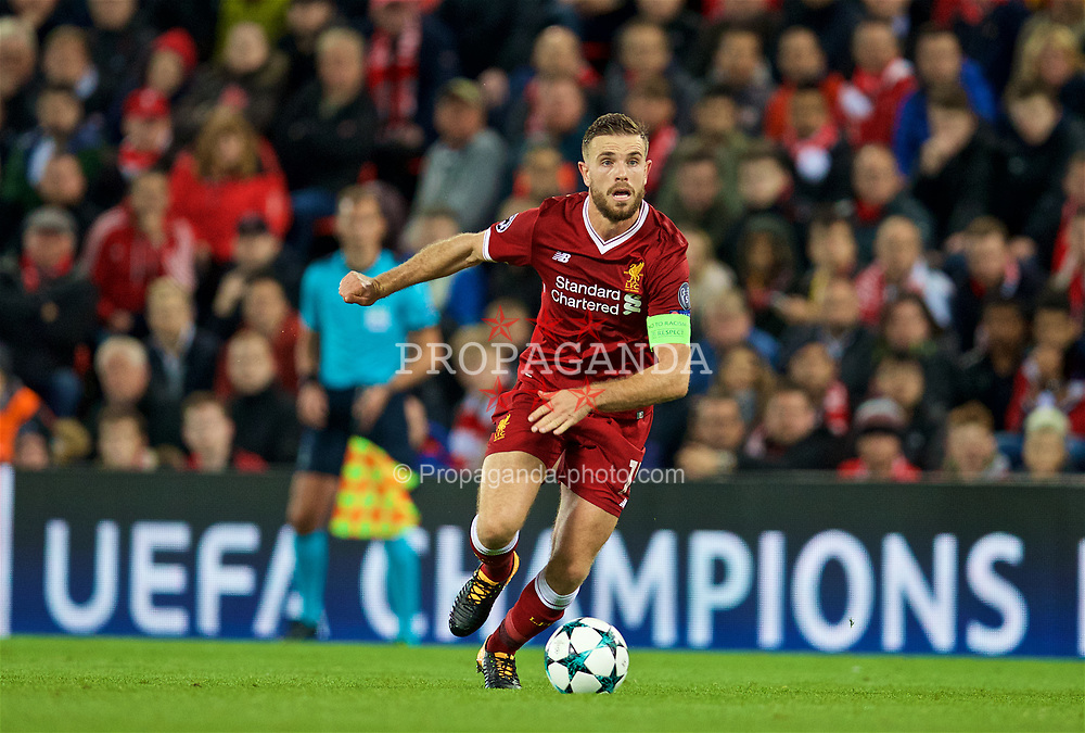 LIVERPOOL, ENGLAND - Wednesday, September 13, 2017: Liverpool's captain Jordan Henderson during the UEFA Champions League Group E match between Liverpool and Sevilla at Anfield. (Pic by David Rawcliffe/Propaganda)