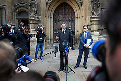 © Licensed to London News Pictures. 15/11/2018. London, UK. Brexit campaigner JACOB REES-MOGG (left) and former Brexit minister STEVE BAKER (right) are seen making a statement outside the houses of Parliament  in Westminster, in which they called for British Prime Minister Theresa May to resign. Cabinet yesterday agreed to back the Prime M insider's proposed deal on Brexit. Photo credit: Ben Cawthra/LNP