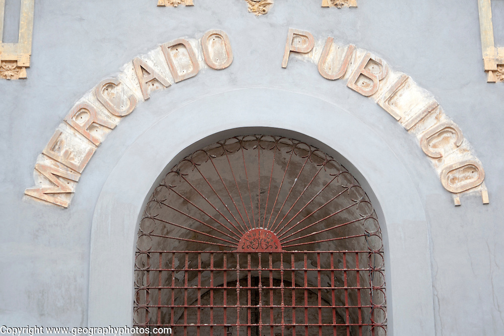 Public Market building sign, Melilla autonomous city state Spanish territory in north Africa, Spain