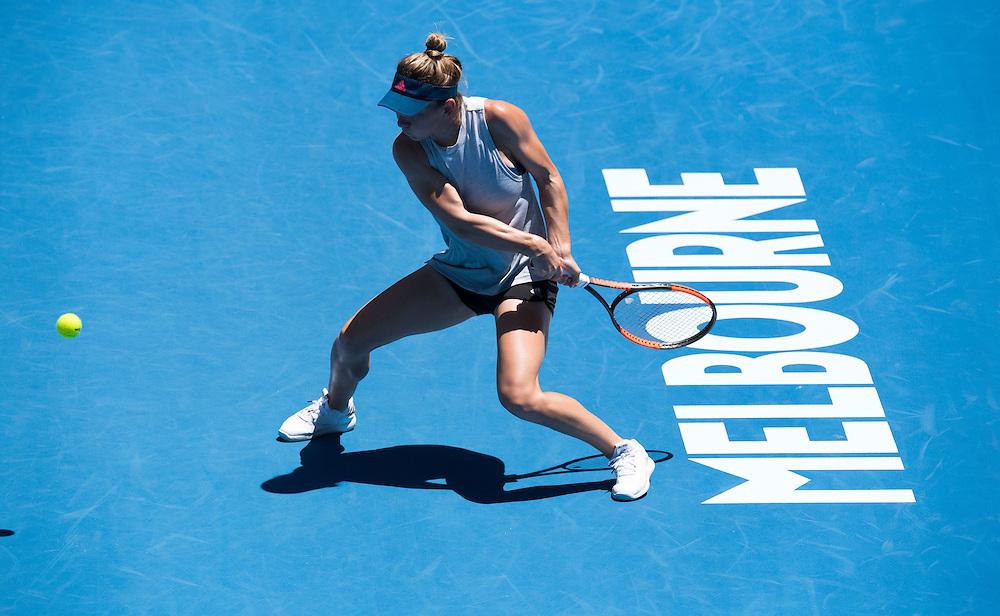 Simona Halep of Romania practices ahead of the 2017 Australian Open at Melbourne Park on January 12, 2017 in Melbourne, Australia.<br /> (Ben Solomon/Tennis Australia)