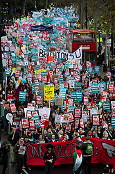 © London News Pictures. 21/11/2012. London, UK. Students and members of the NUS (National Union of Students) march through central London to protest against government cuts to further and higher education, on November 21, 2012. Photo credit: Ben Cawthra/LNP