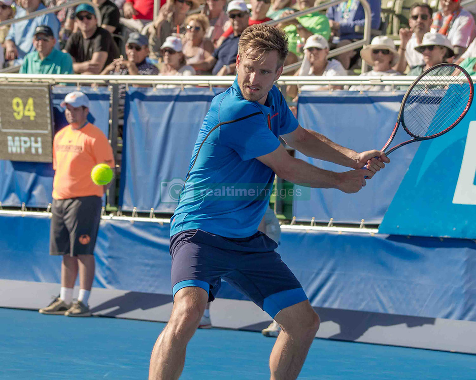 February 25, 2018 - Delray Beach, FL, US - PETER GOJOWCZYK (Ger) in action on court in the Delray Beach Open Singles Final at the Delray Beach Tennis Stadium. He lost to FRANCIS TIAFOE (US) 6-1, 6-4. (Credit Image: © Arnold Drapkin via ZUMA Wire)