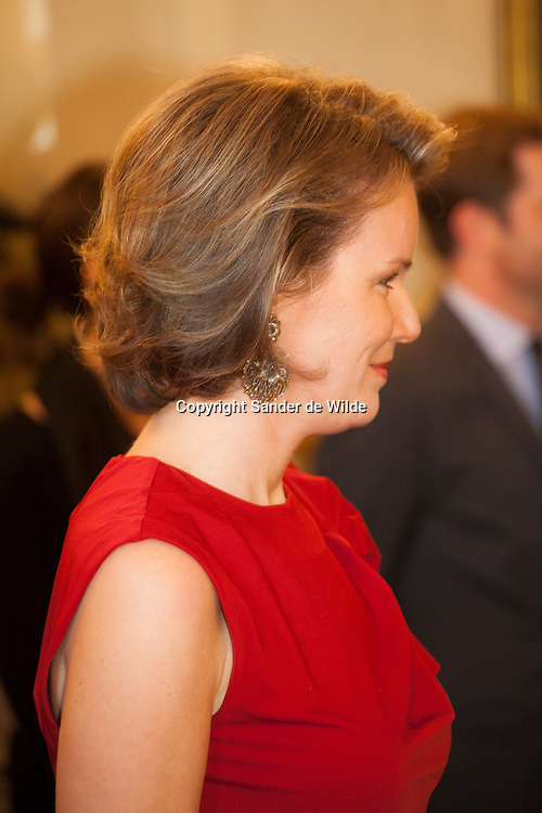 2012-01-12, Brussels, Belgium. The Belgian Royal family gave a newyears drink in the palace for all ambassadors. In this picture: Princess Matahilde wears a red dress and green juwels.